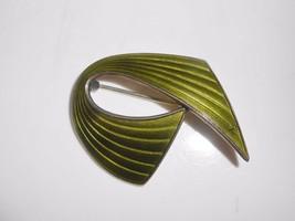 Sterling Enamel Brooch Mid Century Norway Green Pin 1940's-1950's Ivar Holt - $80.75