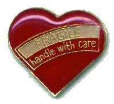 12 Pins - FRAGILE HANDLE WITH CARE heart lapel pin #209 - $8.00