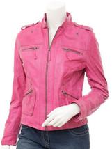 QASTAN Women's New Stylish Pink Sheep Leather Jacket QWJ40A - $149.00+