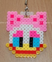 Daisy Duck Head Figure Key Ring Charm Mascot - Perler Beads Hand Made Cr... - $7.99