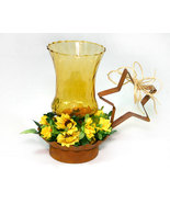 Rusty Tin Candle Holder with Amber Votive Cup and Sunflowers - $9.99
