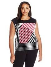 Calvin Klein Women's Plus Size Mixed Print Tank, Watermelon Combo, 2X