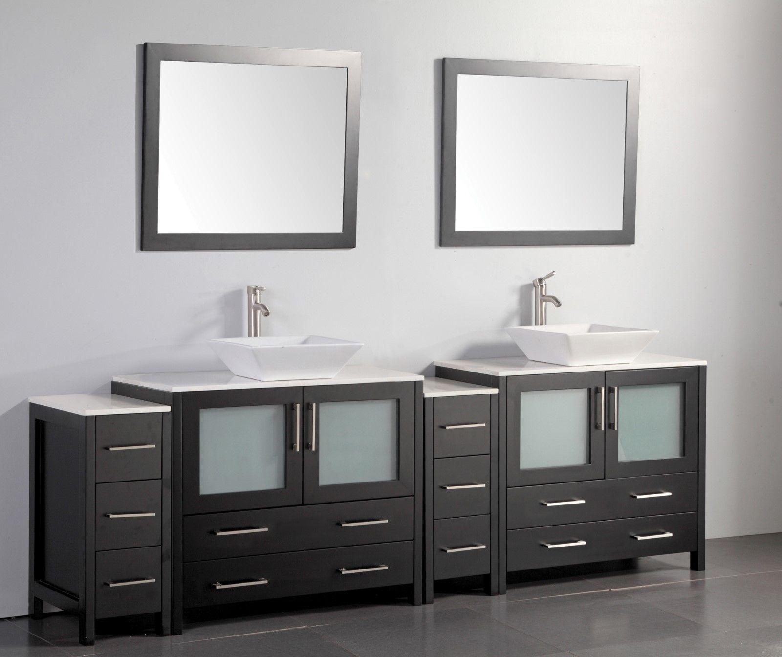 Vanity Art 96 Inch Double Sink Bathroom Vanity Set With