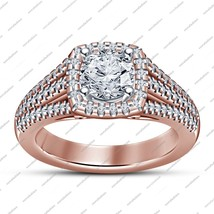 14k Rose Gold Plated 925 Silver Engagement Wedding Ring In Round Cut Whi... - $97.29 CAD