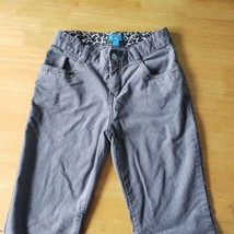 Girls Cotton Grey Straight Leg Pants Size 12 Rhinestone Stretch Adjustable Waist - $9.90