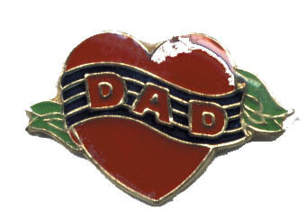 12 Pins - HEART w/ DAD , father hat lapel pin #3145