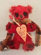 "GERMAN ARTIST ARTISAN TEDDY BEAR RED GERMAN MOHAIR JOINTED ""FIRE OF LOVE... - $49.99"