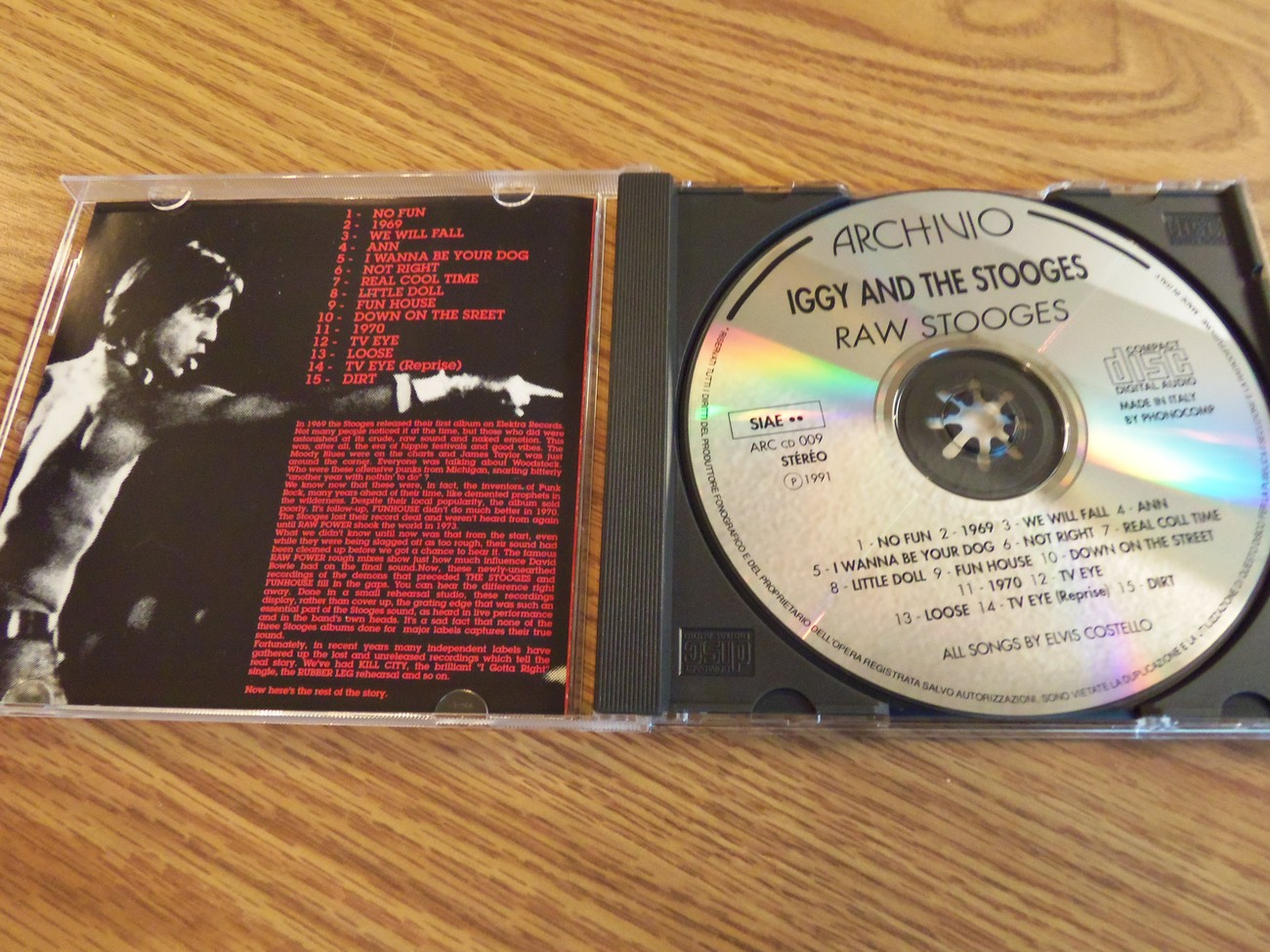Iggy and The Stooges Raw Stooges Archivo 1991 Cd Detroit Iggy Pop
