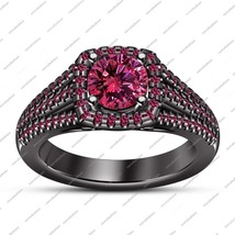Women's Engagement Ring In Round Cut Pink Sapphire Black Gold Finish 925... - ₨5,518.16 INR