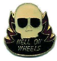 12 Pins - HELL ON WHEELS skull motorcycle hat pin #1908