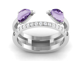 Stacking Purple Amethyst And CZ Solid 925 Sterling Silver Ring Sz 6.5 SH... - £15.63 GBP