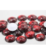 25mm Ruby Garnet A28 Flat Back Round Acrylic Jewels High Quality Pro Gra... - $5.83