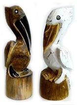 Hand Carved Nautical Wooden Set of 2 Pelican Statues Brown and White Art - $27.66
