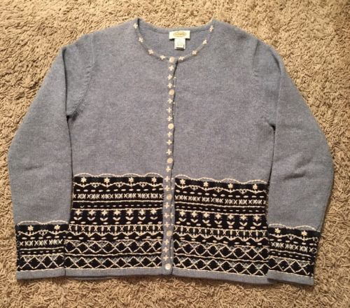 Primary image for Women's Talbots Blue/White 100% Lambs Wool Cardigan Sweater, Size Small