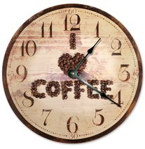 Sugar Vine Art I Love You Coffee Cup Silent Non Ticking Round Battery Operated H - $20.69