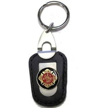 FireFighter Fireman KeyChain Deluxe Key Holder key Chain, Leather & Gold - $9.49