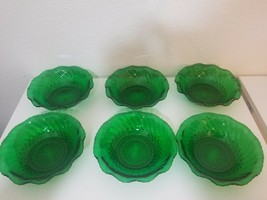 Anchor Hocking Forest Green Scalloped Glass Bowl 6 pcs - $24.50