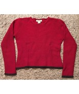 Women's Red Eddie Bauer 100% Lambs Wool Sweater, Size M - $24.99