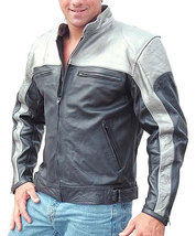 Customized Men's Handmade Two Tone Gray And Black Leather Jacket Make To... - $155.00