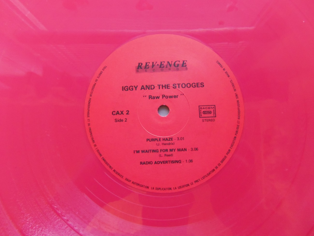 Iggy and The Stooges Raw Power Revenge Colored Vinyl 1988 Limited Edition Ep