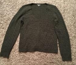 Ann Taylor Women's 100% Extra Fine Merino Wool Gray V-neck Sweater, Size Large - $23.99