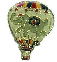 12 Pins - HOT AIR BALLOON w/ ELEPHANT , lapel pin #686