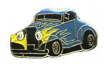 12 Pins - HOT ROD CAR w/ FLAMES hat tac lapel pin #126