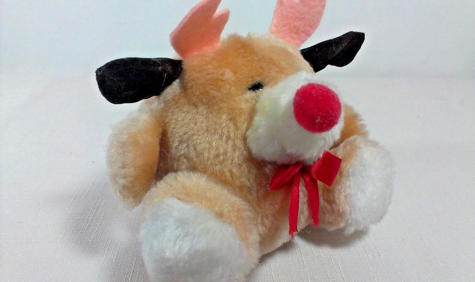 "Primary image for Russ Berrie RUDY Reindeer Plush Puffs Stuffed Animal Mini 4"" Toy Korea"