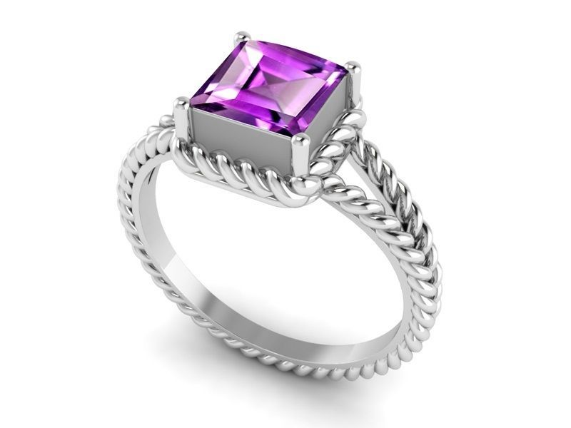 Classic Collection Shining Jewelry Amethyst Gemstone Sterling Ring Sz 7 SHRI1227