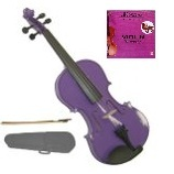 Primary image for 1/4 Size Purple Violin with Case, Bow, Rosin+Extra E String, Rosin