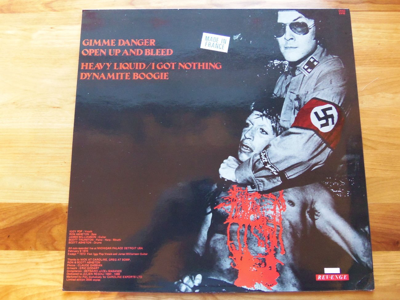 Iggy And The Stooges Gimmie Danger Revenge 1988 Limited Edition Colored Vinyl Ep