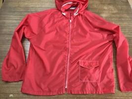 Vintage Sears Mens Windbreaker Unisex Jacket Hood 1970's Rain Coat Red Mint - $20.90