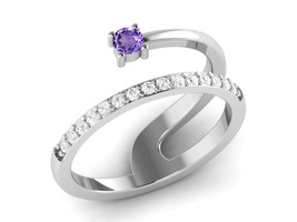 Statue Carved Amethyst And CZ 925 Sterling Silver Love Ring Sz 6.5 SHRI0... - £12.35 GBP
