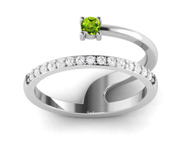 925 Sterling Silver Unique Upscale Design Ring In Peridot CZ Sz 7 SHRI01332 - £12.35 GBP