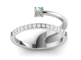 Statement Rainbow Moonstone CZ 925 Sterling Silver Designer Ring Sz 6 SH... - £12.35 GBP