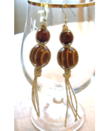 Handcrafted Hemp Macrame Dangle Earrings With t... - $11.99