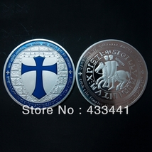Knights Templar Blue Layered 1oz Cross Coin .999 Fine Silver Plated  - $4.90
