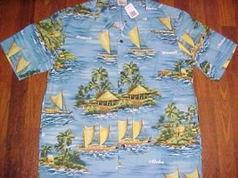 Royal Creations Made Hawaii 1980s Men Palm Trees Blue Hawaiian Camp Shirt L New - $39.59