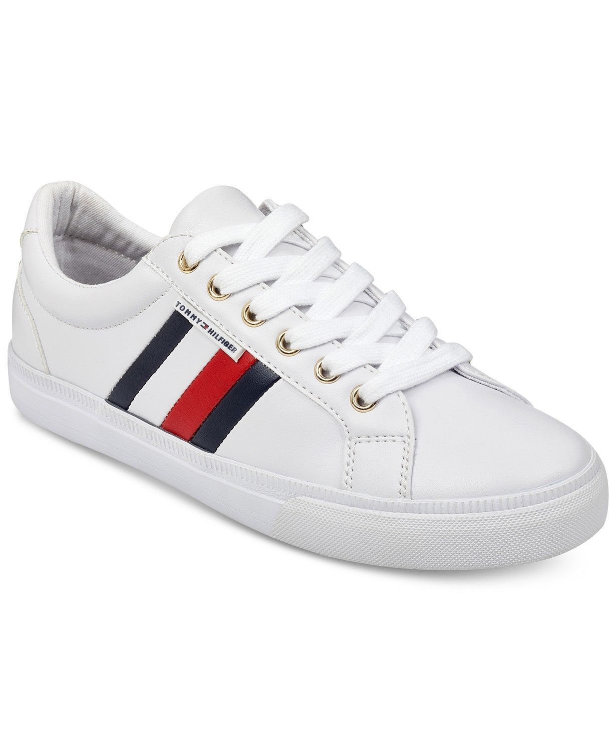 Tommy Hilfiger Women's Lightz Lace-Up Leather Fashion Sneakers Shoes White