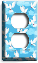 WHITE PEACE DOVES IN BLUES SKY CLOUDS OUTLET WALL PLATES ROOM PET STORE ... - $9.99