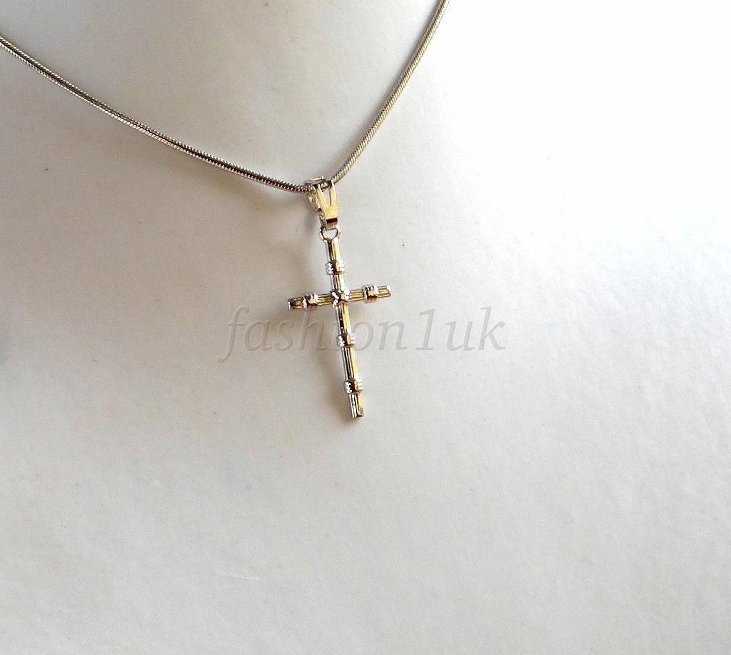 femmes hommes mixte blanc plaqu or christe croix collier pendentif cha ne necklaces pendants. Black Bedroom Furniture Sets. Home Design Ideas
