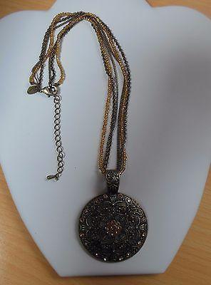 Lia sophia signed jewelry matte gold tone pendant black leather chain necklace