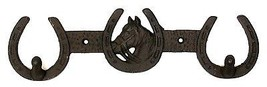 CAST IRON Horse With Horseshoes 2-HOOK Rack Hanger Wall Mount Western Decor - $15.83