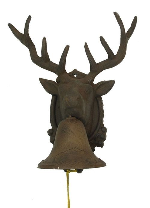Large CAST IRON Deer Head Bell for Indoor or Outdoor Cabin Decor