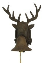 Large CAST IRON Deer Head Bell for Indoor or Outdoor Cabin Decor - $38.60