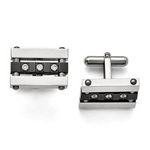 Men's Stainless Steel IP black-plated CZ Polished Cuff Links by Chisel - $48.89