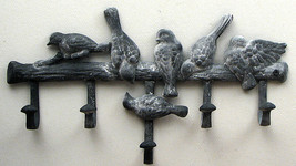 CAST IRON Multi Bird Wall Hook Hanger with 5 Hooks - $18.80