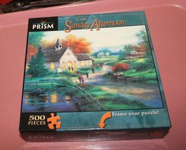 Sunday Afternoon T.C. Chiu 500 piece Jigsaw Puzzle NEW country church po... - $9.90