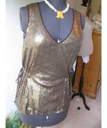 Runway 2 B Rych Sequined Tie-Waist Blouse in Brown Bronze Blouse / Top S... - $89.09