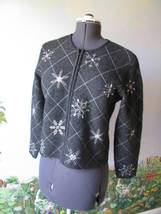 TALBOTS PETITES Gray Cardigan Front Zip Sweater Snow Flaks - $39.59